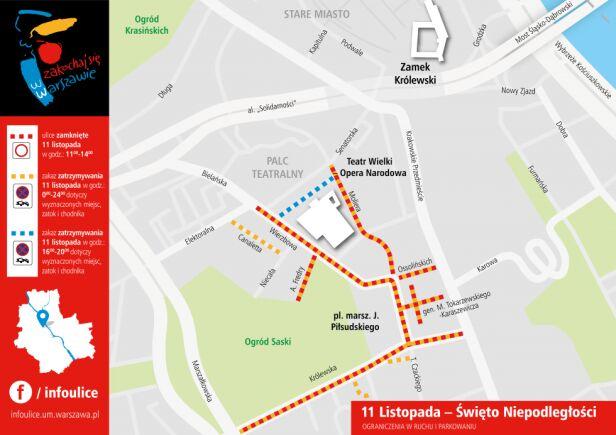 Zmiany w ruchu - 11 listopada UM Warszawa