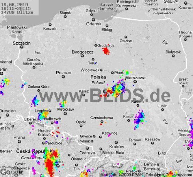 Ścieżka burz w godzinach 18.15-20.15 (blids.de)