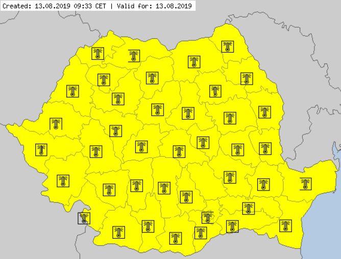Aktualne ostrzeżenia meteorologiczne w Rumunii (za meteoalarm.eu)