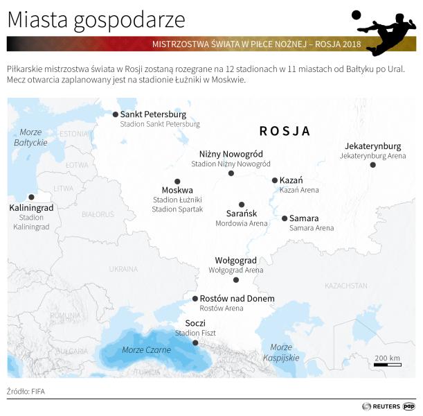 Miasta gospodarze Mistrzostw Świata 2018 (Małgorzata Latos/PAP/Reuters)