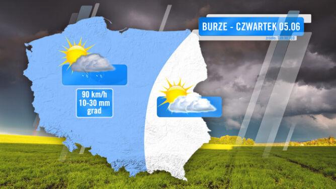 Zasięg burz prognozowany na czwartek 5.06